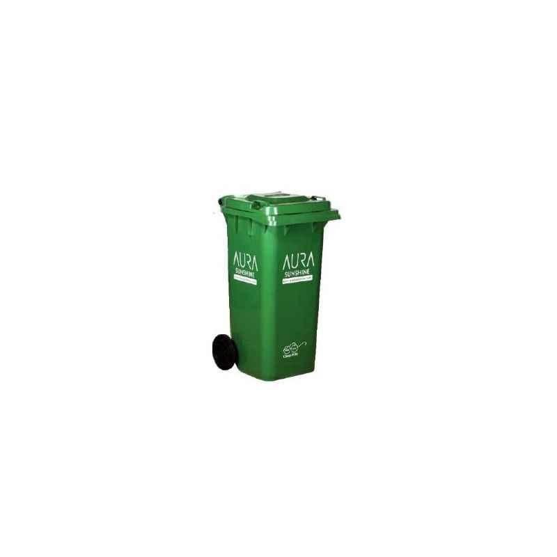 Aura Sunshine 120 Litre Green Plastic Industrial Wheel Dustbin, AURA120L