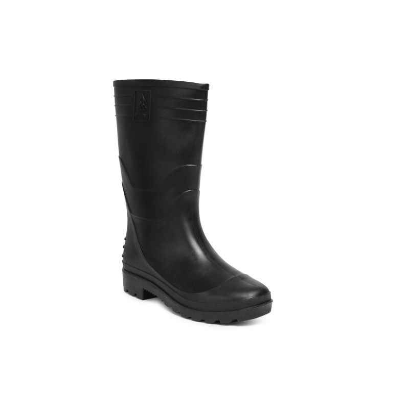 Hillson 12 Inch Welcome Plain Toe Black Gumboots, Size: 8