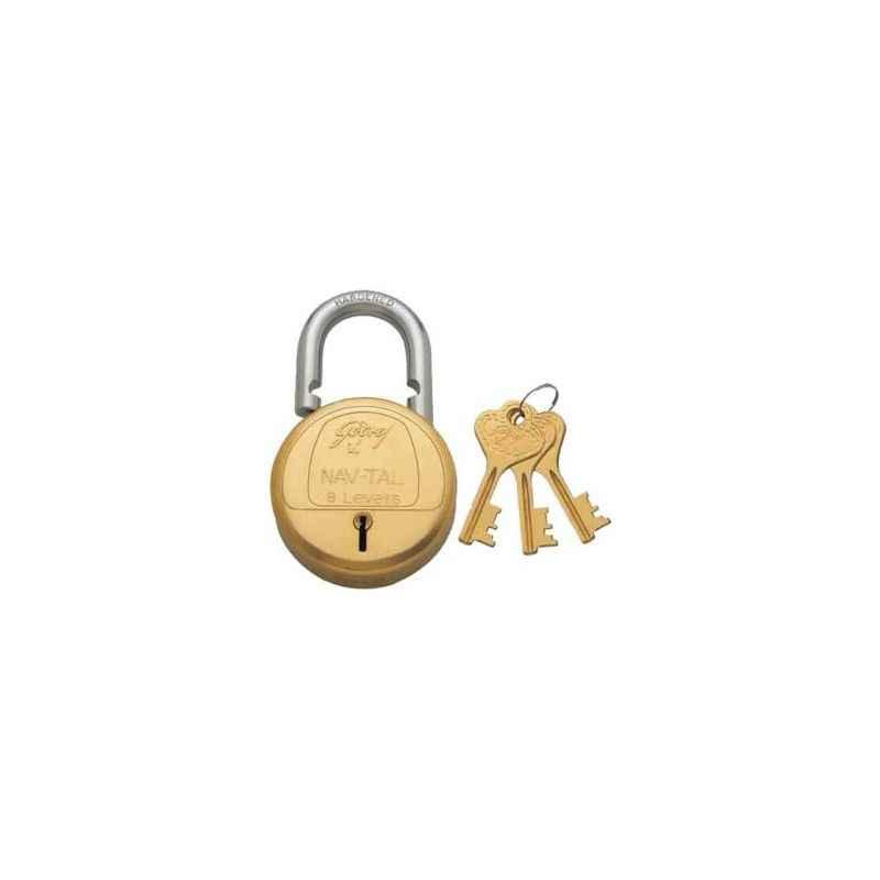 Godrej Navtal 8 Lever Deluxe Hardened Padlock with 3 Keys, 3282