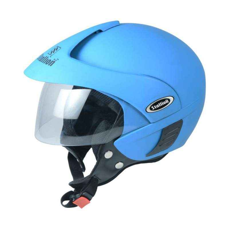 Stallion BLK Triomax Open Face Sky Blue Motorbike Helmet, Size: M