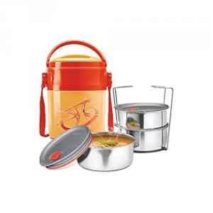 Milton Odyssey Deluxe 3 Containers Orange Leak Lock Lunch Box Set