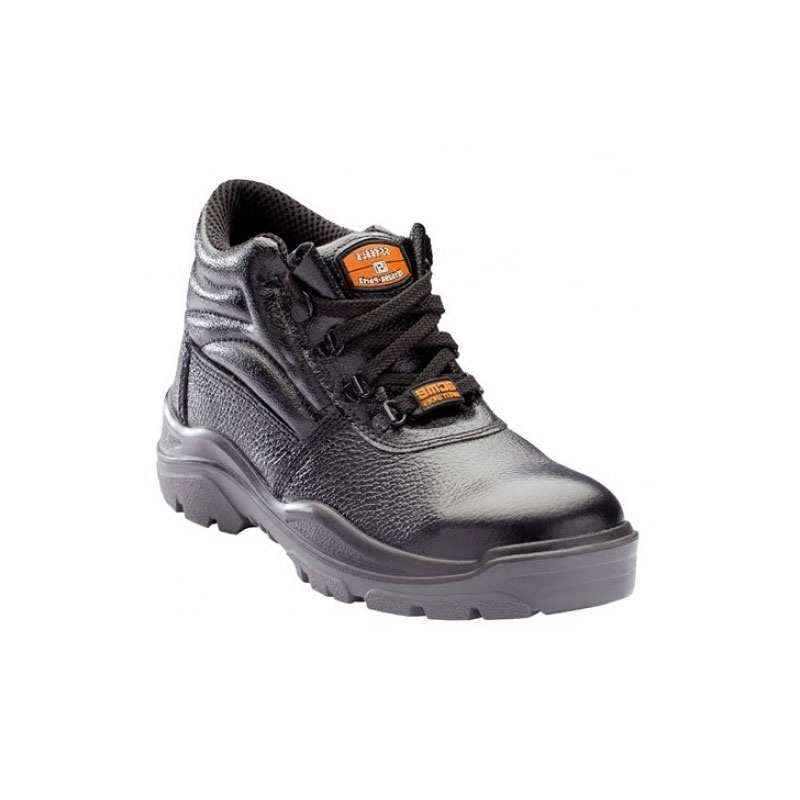 Acme AP-4 Boxilic Steel Toe High Ankle Black Safety Shoes, Size: 7