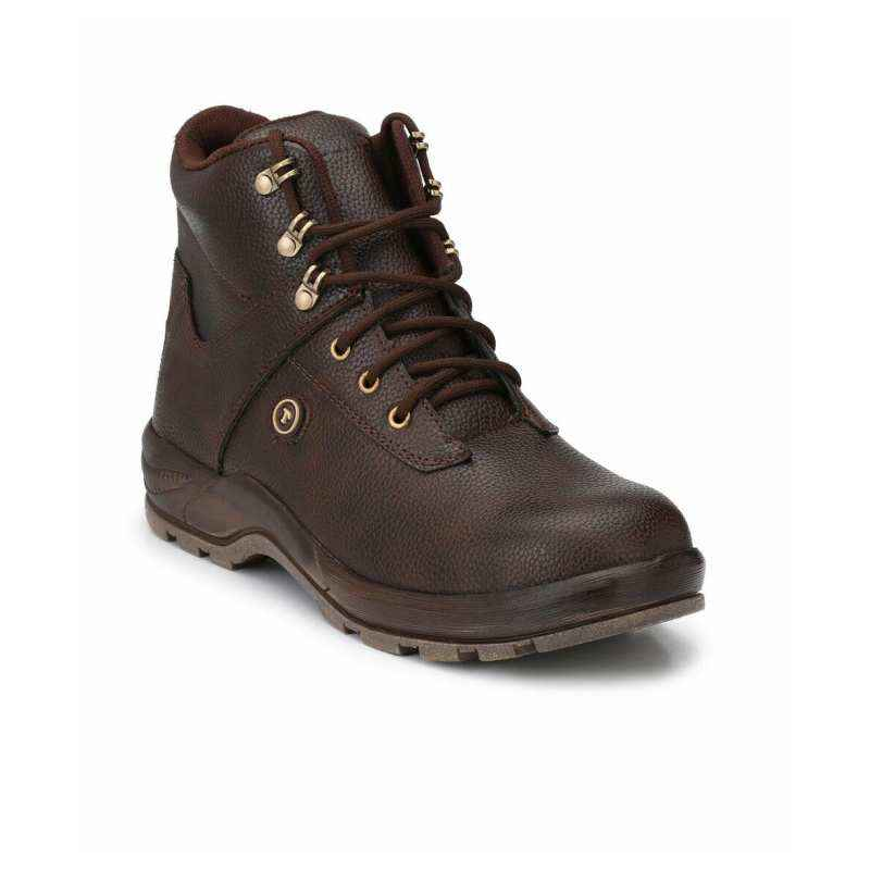 Timberwood TW10BR Synthetic Leather Steel Toe Brown Safety Boot, Size: 8