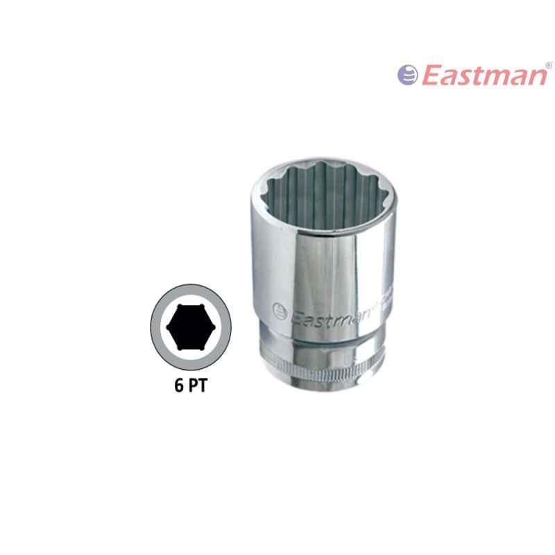 Eastman 1/2 inch Drive Hex Sockets -CRV, E-2201, 25 mm (Pack of 6)