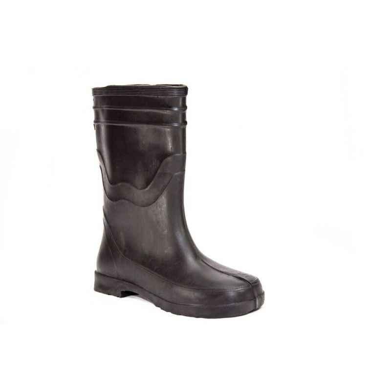 Captain PVC Black Rubber Toe Gumboots, Size: 9