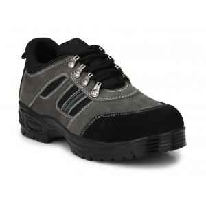 Graphene R 502 Leather Steel Toe Black & Grey Safety Shoe, Size: 10