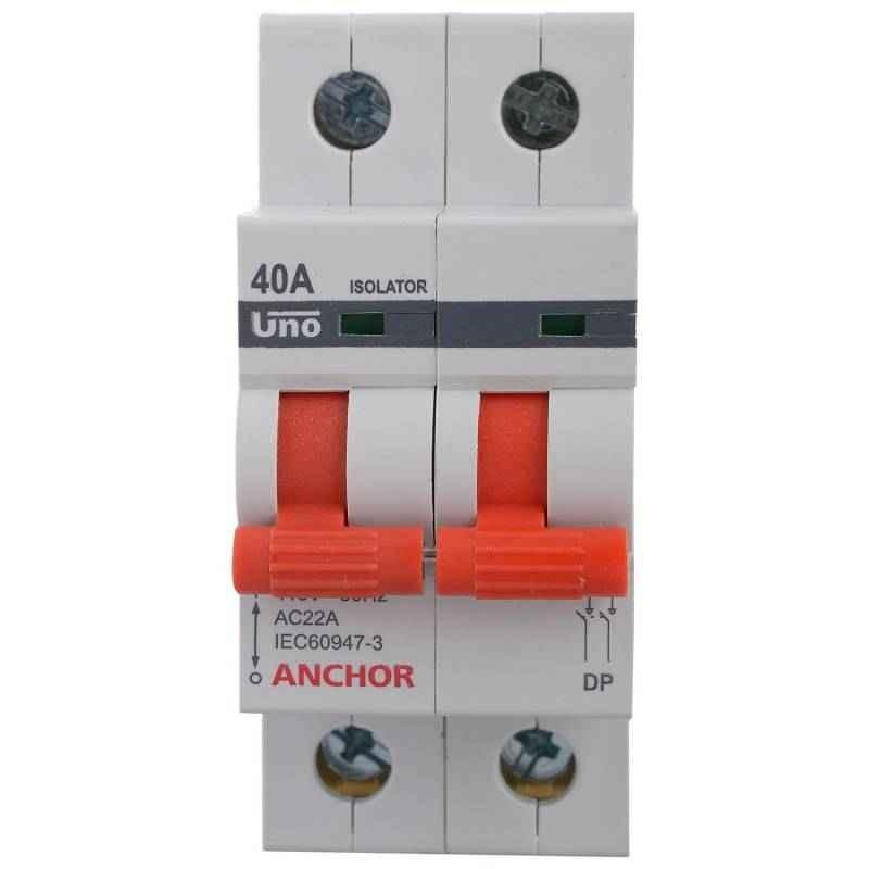 Anchor 40A UNO Series Double Pole Isolator, 98055