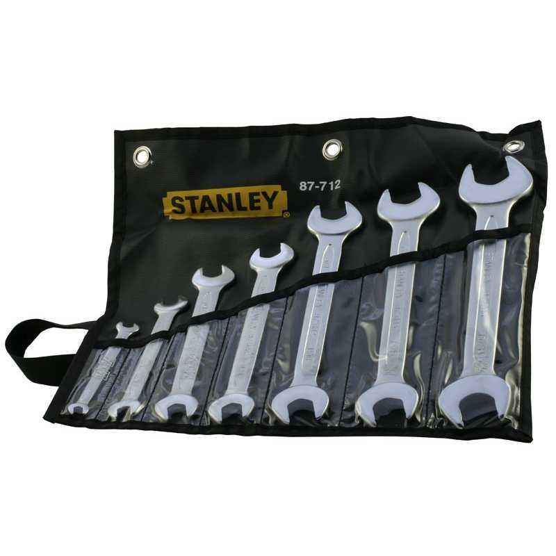 Stanley 7 Pieces Imperial CRV Steel Slimline Double Open End Spanner Set, 1-87-712