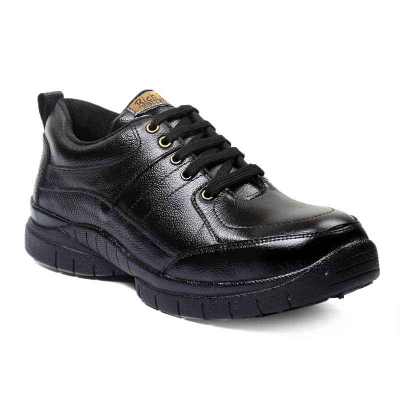 Rich Field SGS1125BLK Low Ankle Black Leather Steel Toe Safety Shoes, Size: 9