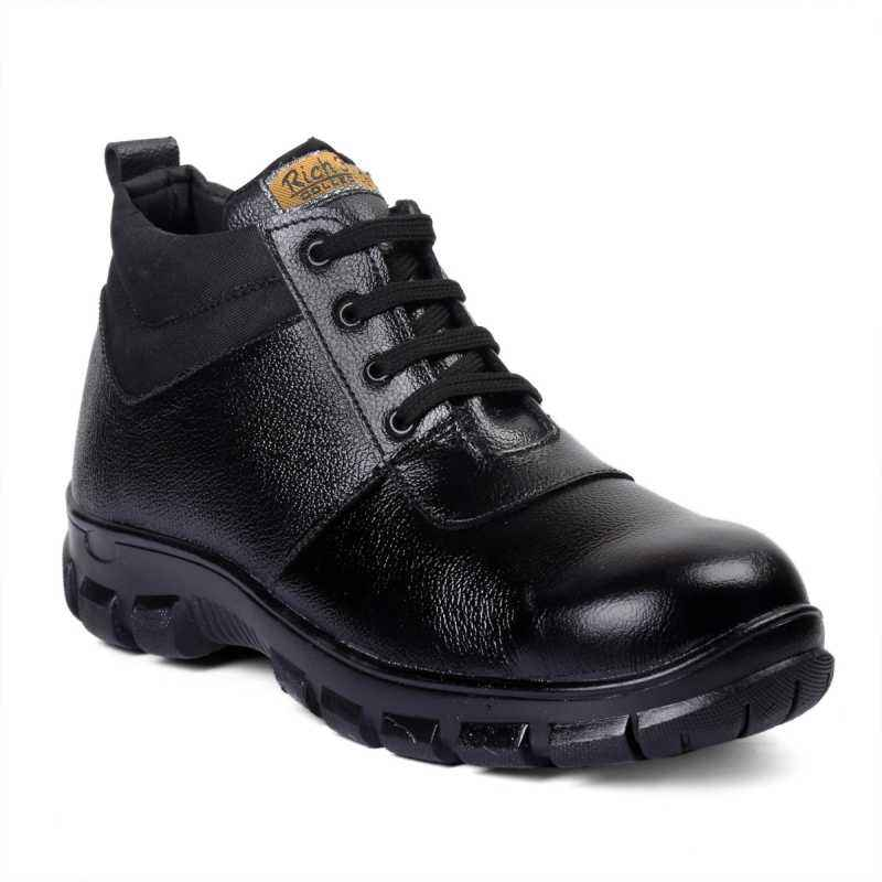 Rich Field SGS1124BLK High Ankle Black Leather Steel Toe Safety Boot, Size: 9