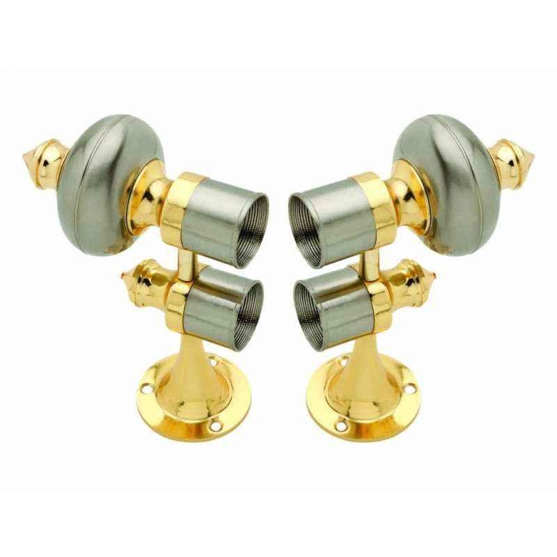 Smart Shophar 28mm Zinc Gold Silver Double Pole Curtain Bracket Set, 50846-ZCBD-GS