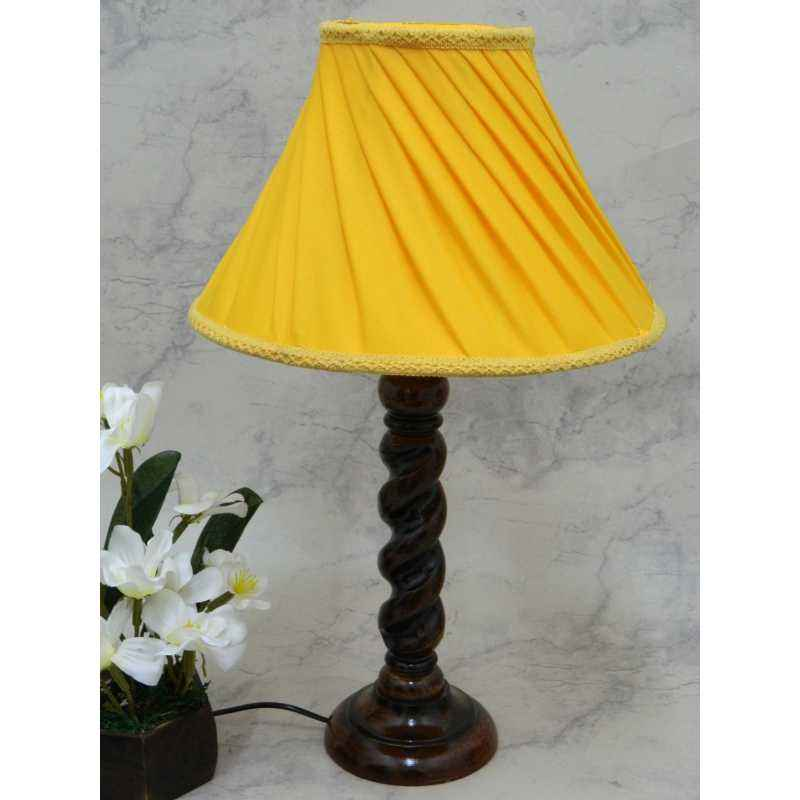 Tucasa Elegant Wooden Table Lamp with Yellow Shade, LG-811