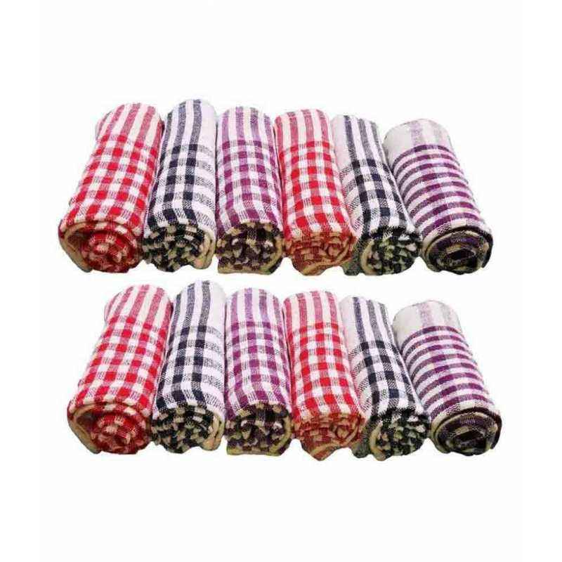 Chiyu 18x18 inch Multicolour Cotton Kitchen Napkin Cloth, KNL12 (Pack of 12)