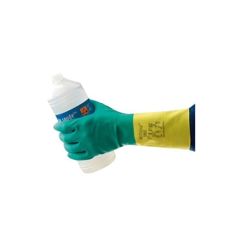 Ansell Bi-Colour Latex Neoprene Safety Gloves, HNPAN-87-9009, Size: 9 Inch (Pack of 10)