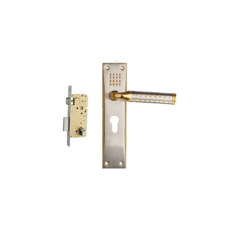 Plaza Platinum Gold Silver Finish Handle with 250mm Pin Cylinder Mortice Lock & 3 Keys