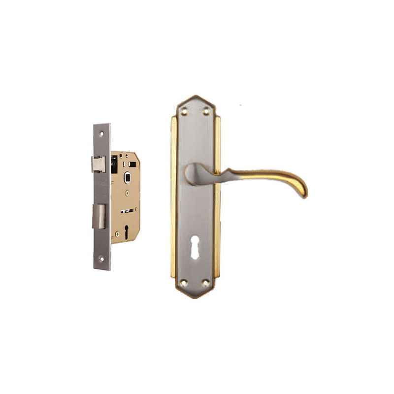 Plaza E-999 Golden Finish Handle with 65mm Mortice Lock & 3 Keys