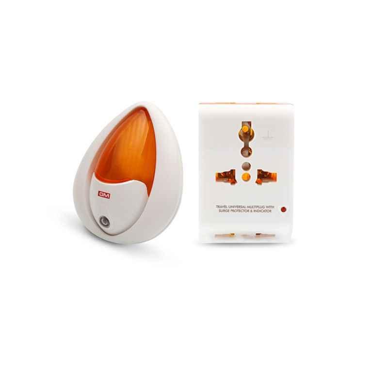 GM 3 Pin Universal Travel Multi Plug with Sensor Night Lamp, 3012-3030