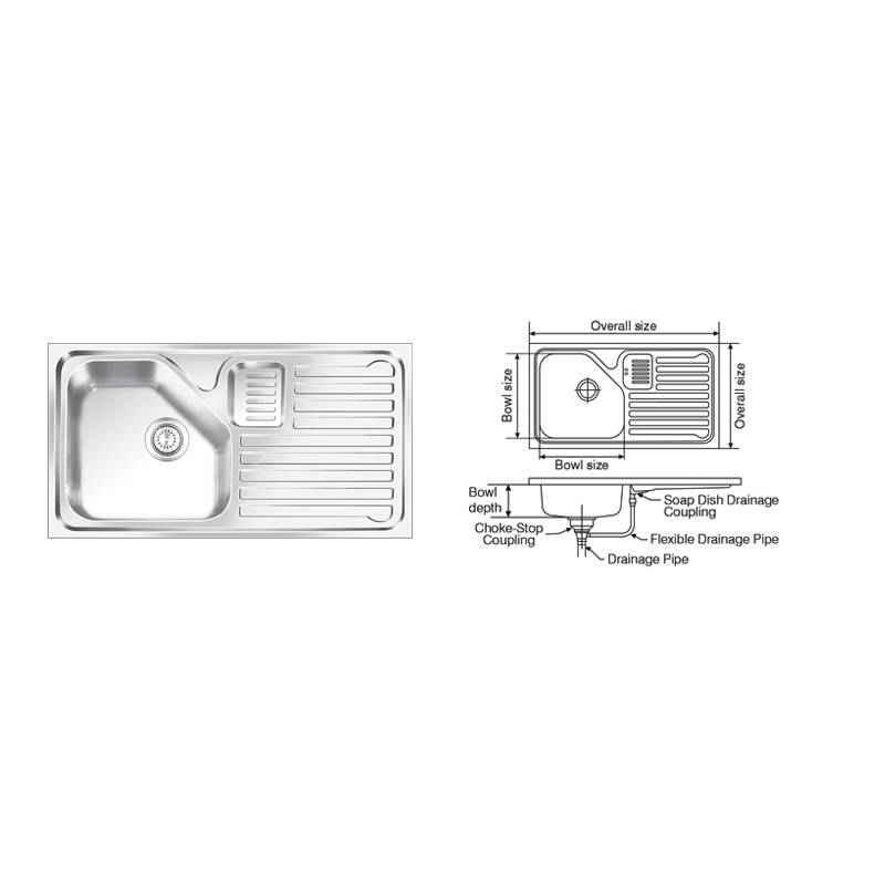 Nirali Trion Elegance Glossy Finish Kitchen Sink, Size: 915x510 mm