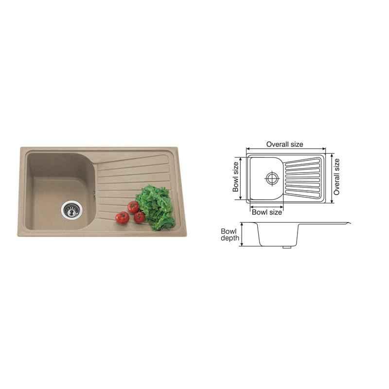 Nirali Spazio LV 1 Kitchen Sink, Size: 860x510 mm