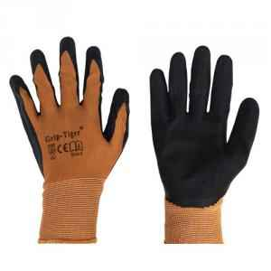 SSWW Brown Nylon Shell with Black Crinkle Latex Palm Coated Gloves, SSWW103 (Pack of 10)