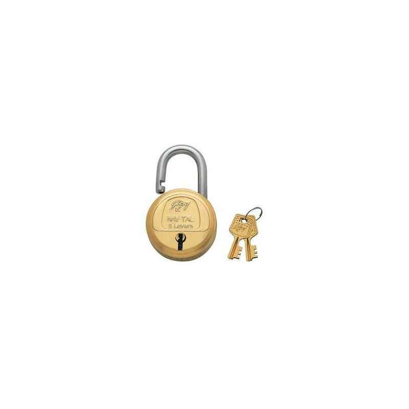 Godrej Navtal 5 Levers Brass Padlock (2 Keys), 3276