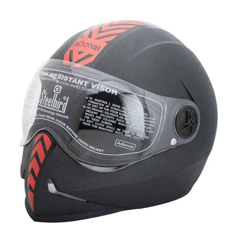 Steelbird Adonis Black Red Dashing Full Face Helmet, Size (Large, 600 mm)