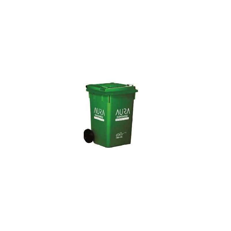 Aura Sunshine 100 Litre Green Plastic Commercial Wheel Dustbin , AURA100L