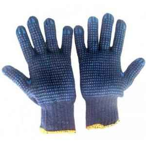 Hansafe Single Side Knitted Cotton Hand Gloves, Blue (Pack of 12)