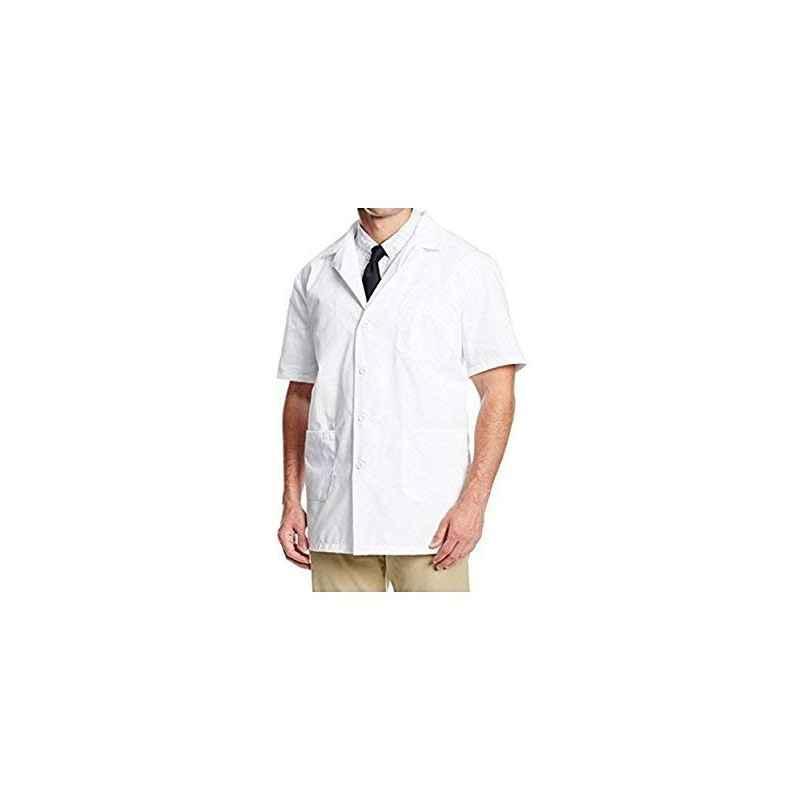 Shakuntla White Cotton Half Sleeve Apron Lab Coat, Size: L