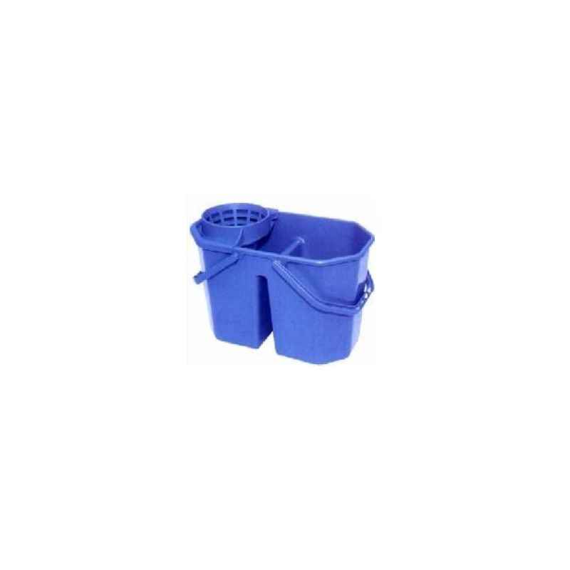 Amsse SD1001 Cone Double Bucket for Round Mop with Cone Squeezer and Handle,Capacity 8+7 Ltrs