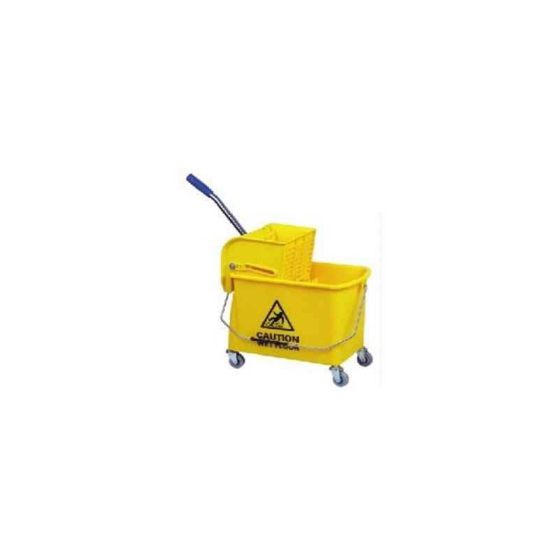 Amsse SB1004 Single Bucket with Partition 10+10 ltrs Wringer Trolley With Down Press Wringer