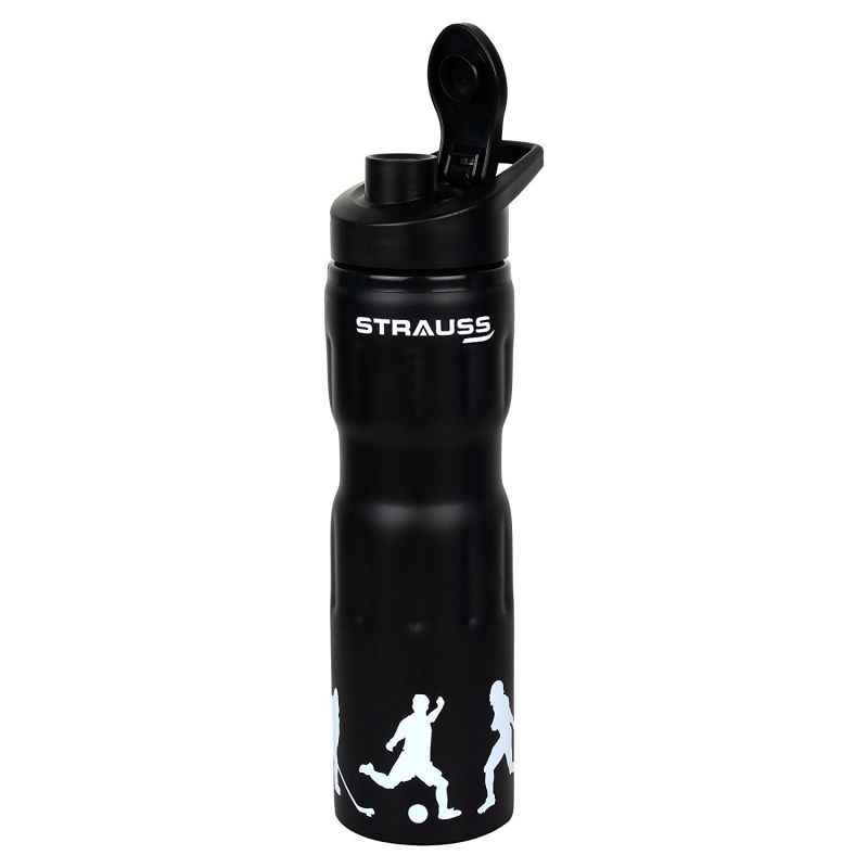 Strauss Stainless Steel Black Water Bottle, Capacity: 750 ml