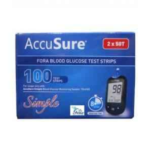 Accusure Simple Fora Blood Glucose Test Strips (100 Strips)