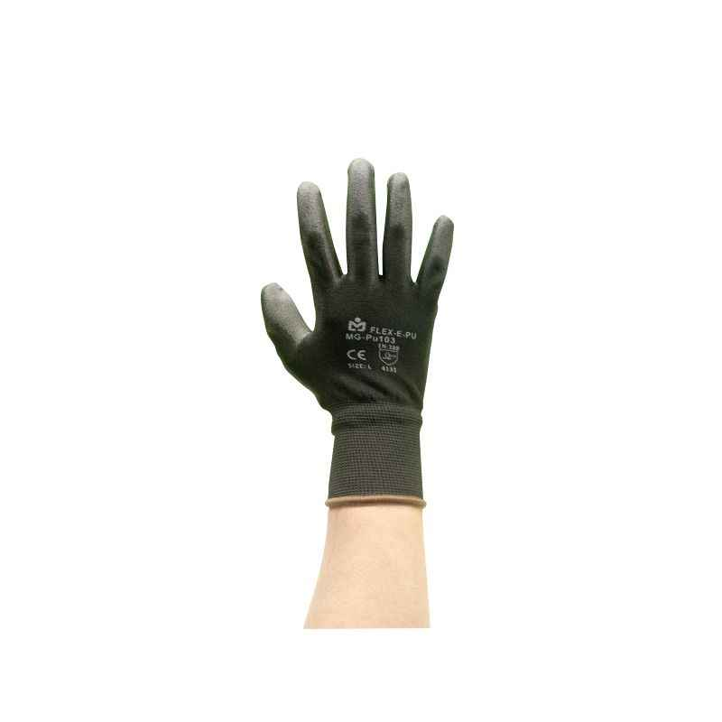 Marvel PU-103 Black Safety Gloves, Size: S (Pack of 10)