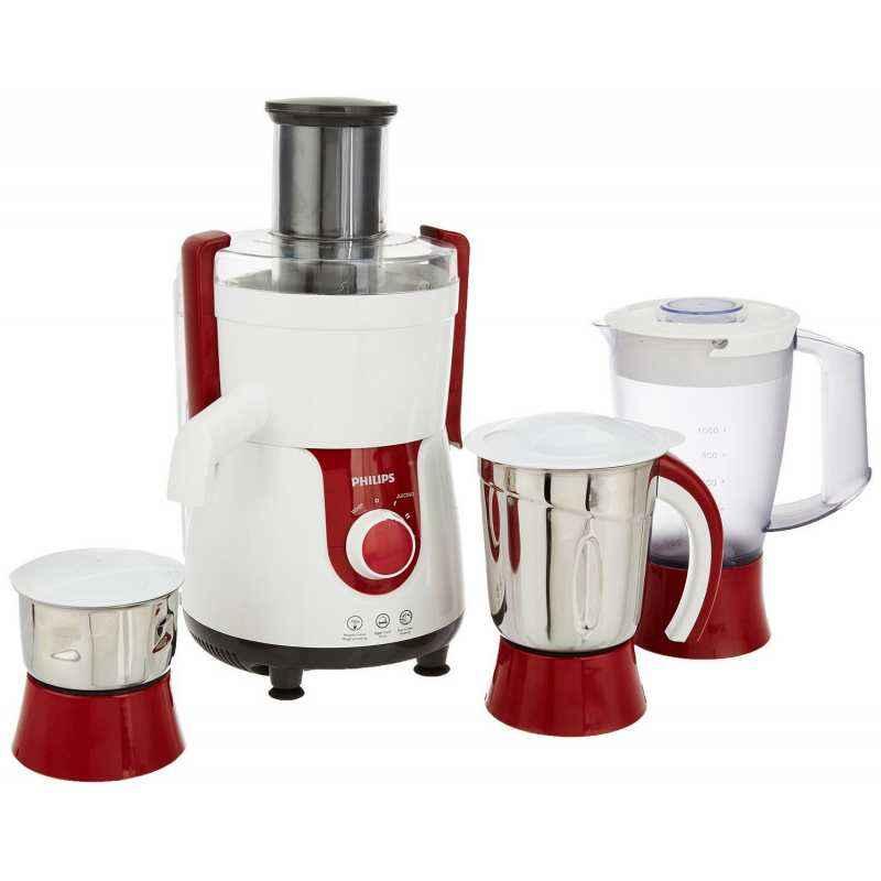Philips Viva 700W HL7715 Pistil Red & White Juicer Mixer Grinder with 3 Jars