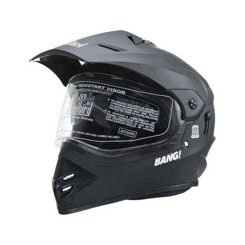 Steelbird SB42 Bang Motocross with Double Visor Matte Black Full Face Helmet, Size: L
