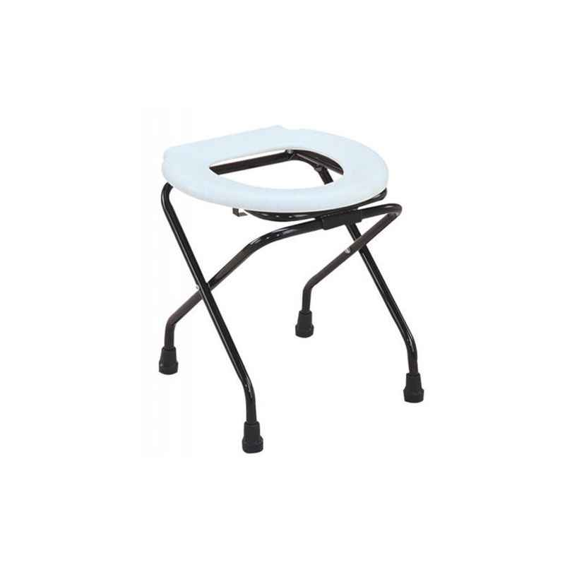 Shakuntla Elegant Mosquito Net Folding Round Commode Stool Cum Chair