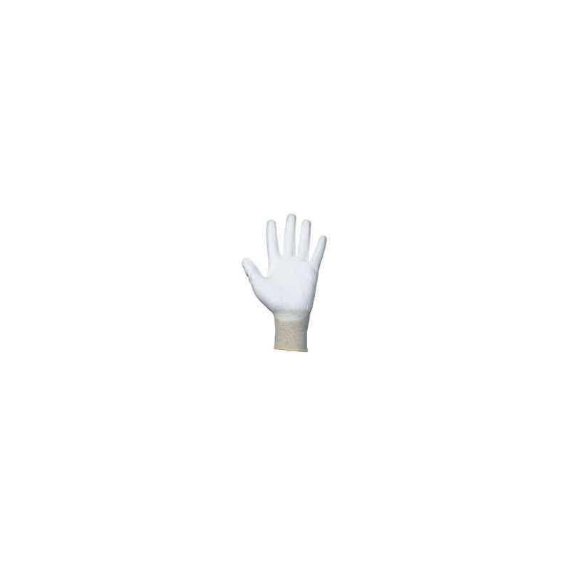 Atlas Nylon & PU White Hand Gloves, RUBY PU/GHF-802/902-S (Pack of 100)