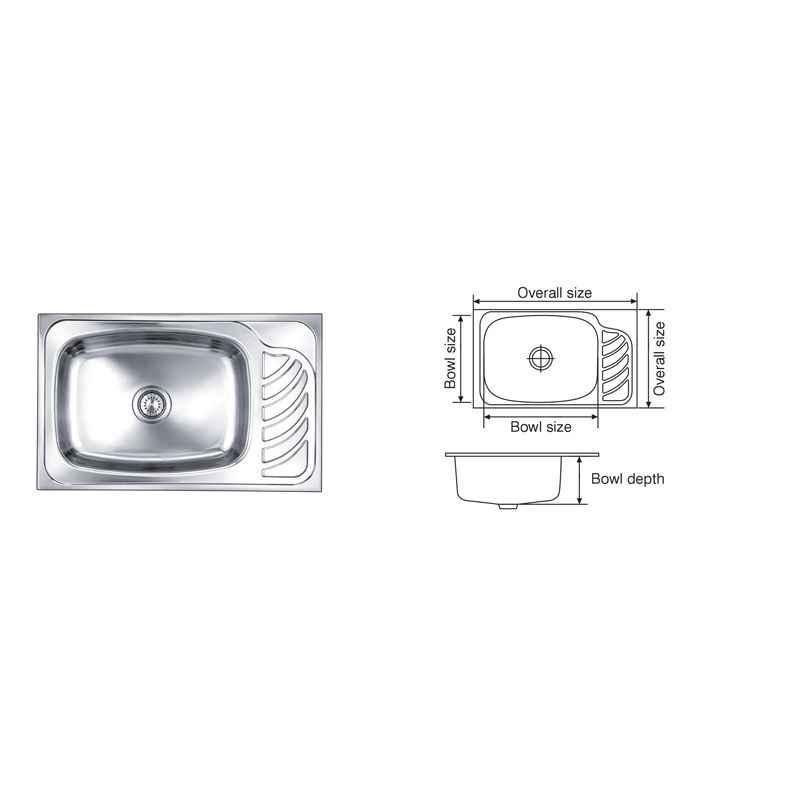 Nirali Eureka Anti Scratch Finish Kitchen Sink, Bowl Size: 560x410x225 mm
