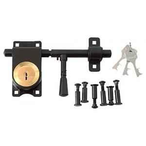 Link 200mm Brass Levers Brown Steel Rod Lock with 3 Keys, L08-LRLS-08