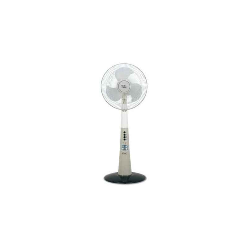Orbit Pacific Breeze 12 Inch Rechargeable-Stand with LED 3 Blade Pedestal Fan Colour White Gray