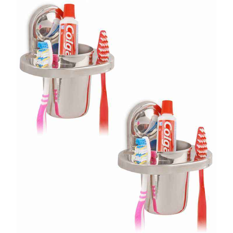 Abyss ABDY-0547 Glossy Finish Stainless Steel Tooth Brush Holder (Pack of 2)