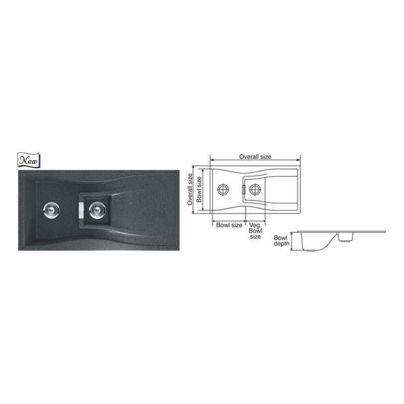 Nirali Elara WB 1-1/2 Kitchen Sink, Size: 1000x500 mm