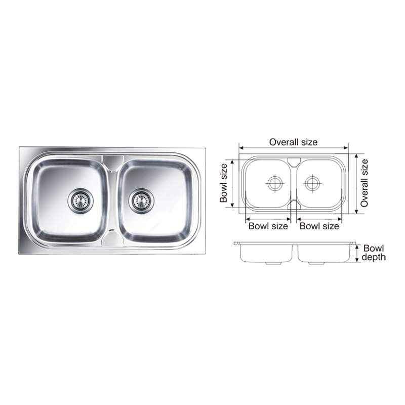Nirali Pride Glossy Finish Kitchen Sink, Size: 825x470 mm