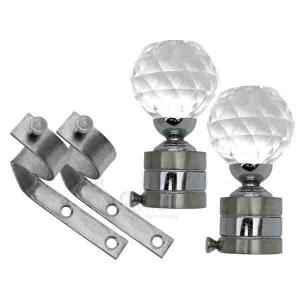 SmartShophar 28mm SS Silver Glass Finial Blast Curtain Bracket Set, 64828-SCB-SS