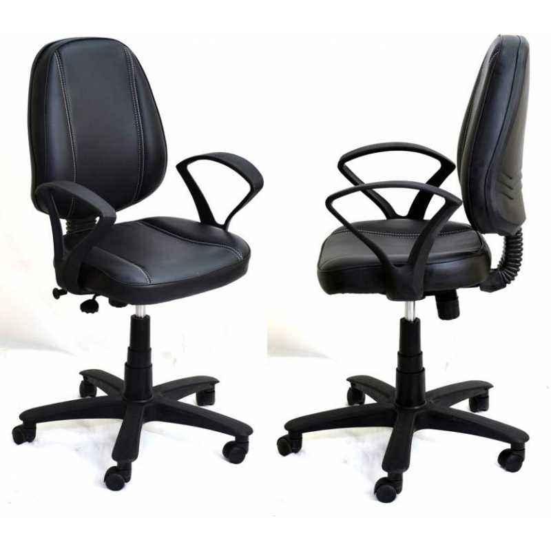 Mezonite Black Medium Back Leatherette Office Chair (Pack of 2)