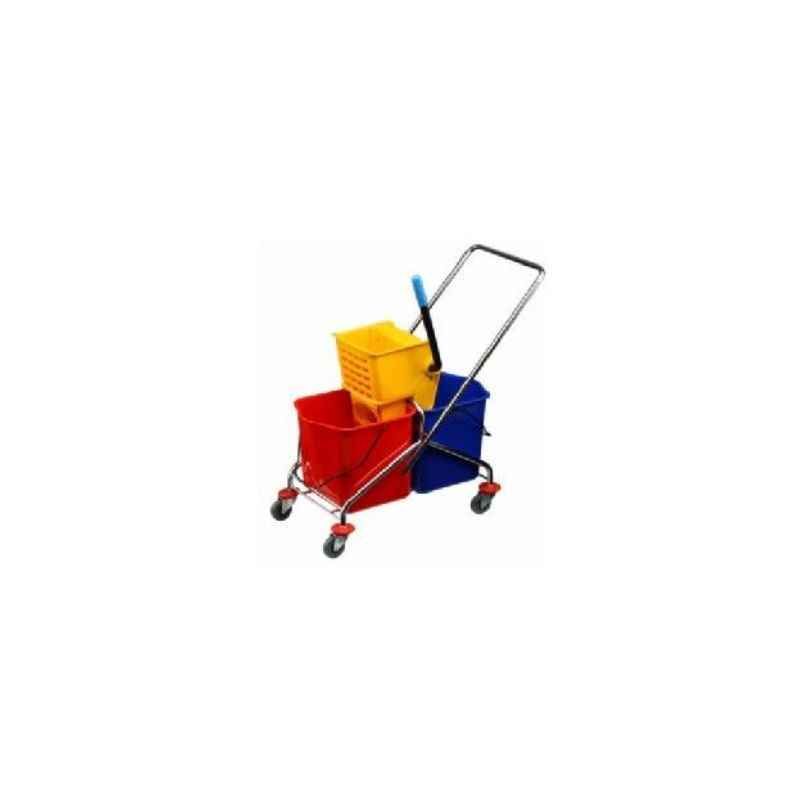 Amsse DB1002 Double Bucket Wringer Trolley with S S Frame