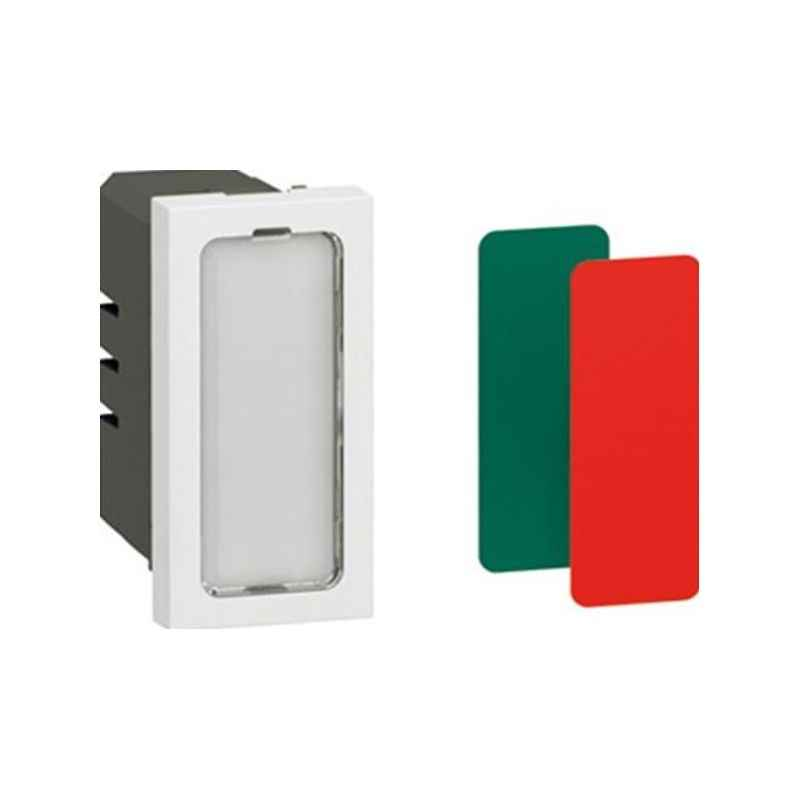 Legrand Arteor 1 Module Square White Indicator Unit With Transparent LED With Coloured Labels, 5724 52 (Pack of 10)