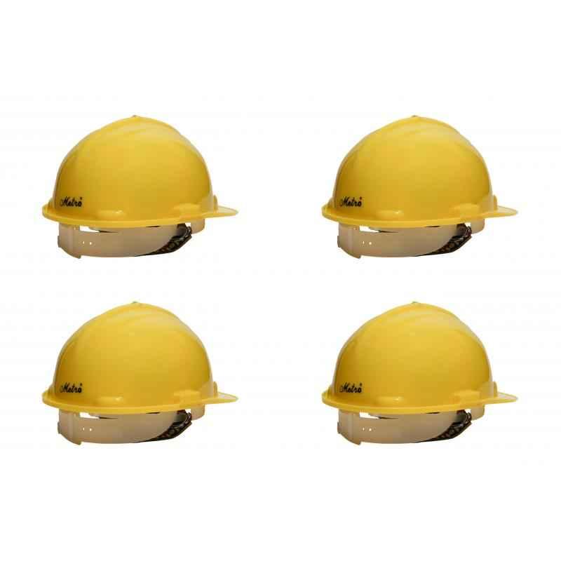 Metro HDPE Nape Type Safety Yellow Helmet (Pack of 4)