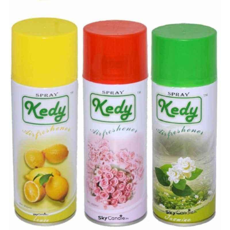 Kedy Jasmine, Lemon & Rose Water Spray Air Freshener Set, SP001